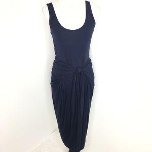 Love Fire Navy Ribbed Tie Front Sleeveless Dress S